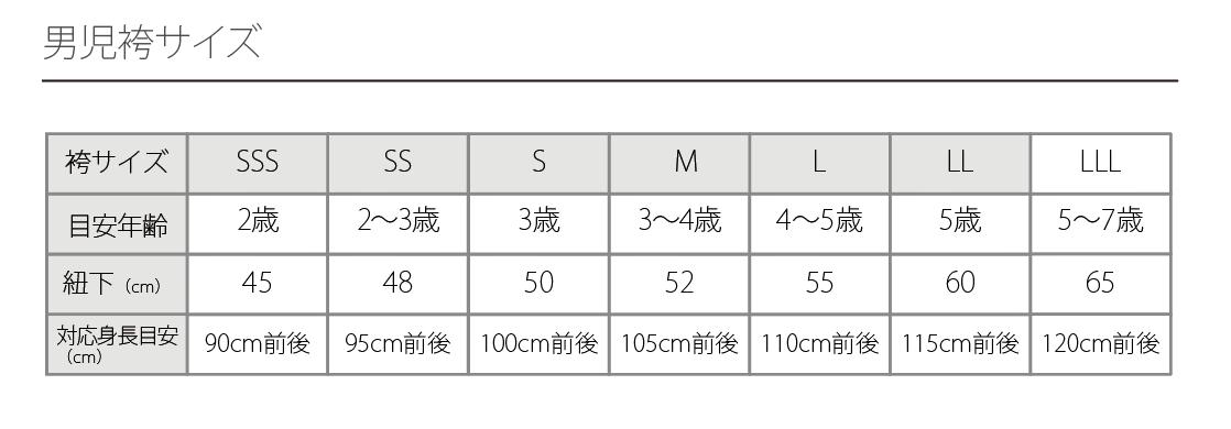 男児サイズ表