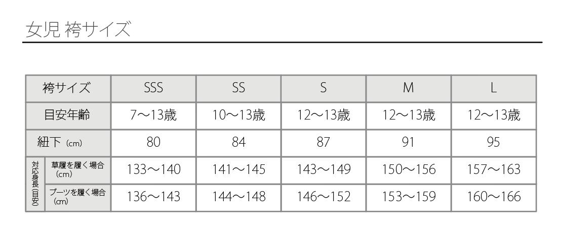 女児袴サイズ表